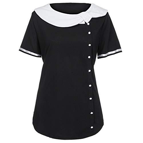 Große Größen Kurzshirt für Damen/Dorical Frauen Sommer Frühling Kurzarm Knopf Rundhals Tshirt Hemd Elegant Casual Hemdbluse Unterhemd Blouse Oberteile XL-5XL...