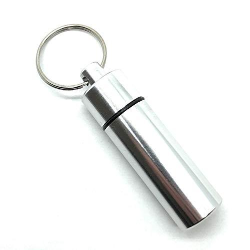 Aribari Schlüsselanhänger Pillendose I Hochwertige Tablettenbox I wasserdichte Kapsel für unterwegs (Silber)