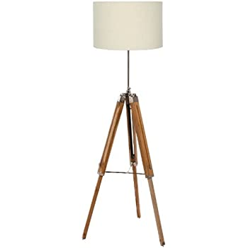 Pacific Lighting 866 NAT Wood Tripod Floor Lamp Base Only, Natural