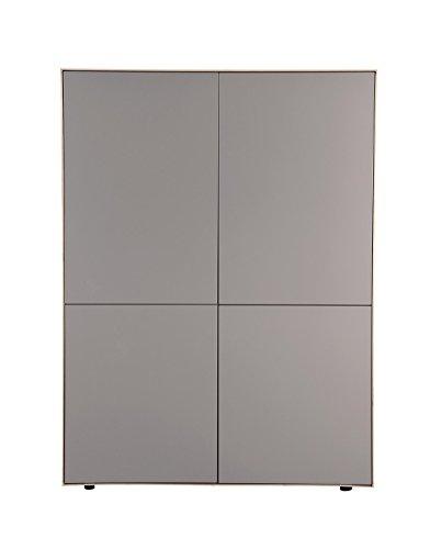 Meubletmoi Waschtisch Schrank Taupe matt und Dekor Eiche-Schrank 4Türen-Modernes Design-Qualität Excellence-Omega (Omega-schränke)