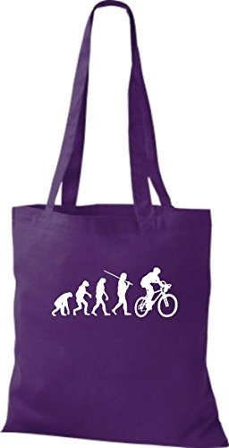 ShirtInStyle Stoffbeutel Jute Evolution Motorrad Fahrrad Biken Stunt Freebike Biker diverse Farbe lila
