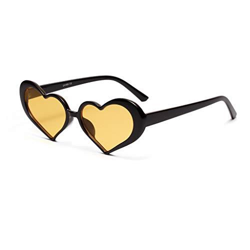 Modische Brillen Damen Vollrand Herzform Fashion Sonnenbrillen Design Strahlenschutz für Sommer Reisen Strand Gehen(B,free)