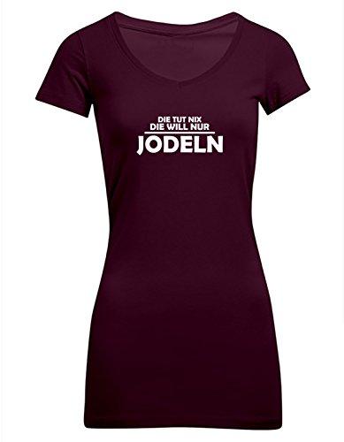 Die tut nix, die will nur jodeln, Frauen T-Shirt Extra Lang - ID104236 Burgundy