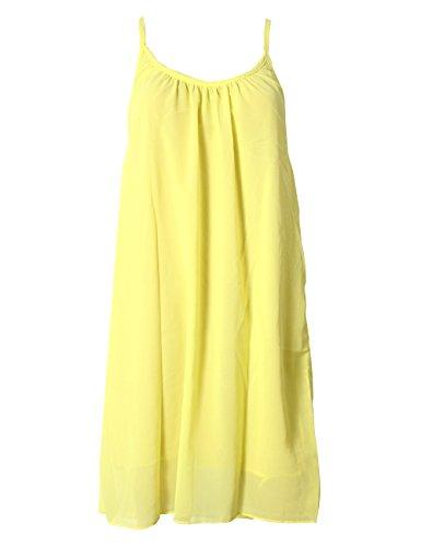 Shinekoo® Damen Sommerkleid Schulterfrei Ärmellos Rückenfrei Neckholder Kleid Chiffon Strandkleid Minikleid Gelb