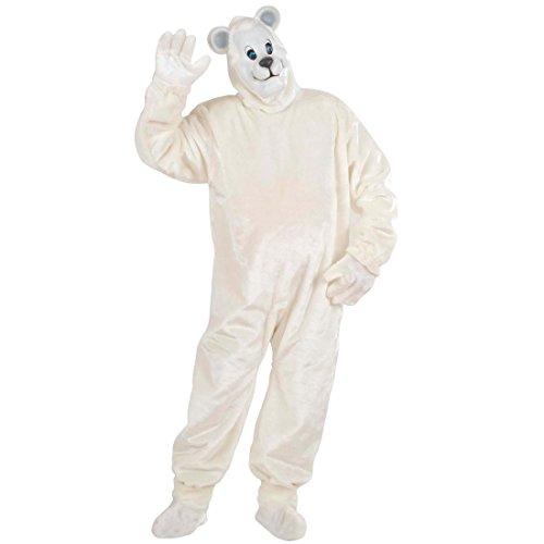 Eisbär Kostüm Polar Bärenkostüm aus Plüschfell Eisbären Plüsch Overall Polarbär Ganzkörperkostüm Strampler Tier Plüschkostüm Eisbärenkostüm Maskottchen Tierkostüm (Maskottchen Tier)