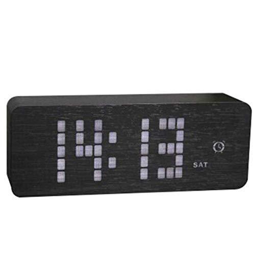 JTY Holz-Digital-Alarmuhr, Wood Fashion Multifunktion LED-Alarmanlage mit USB Power Supply Modern Design Voice Control, Holzuhren für Schlafzimmer, Bedside, Reisen