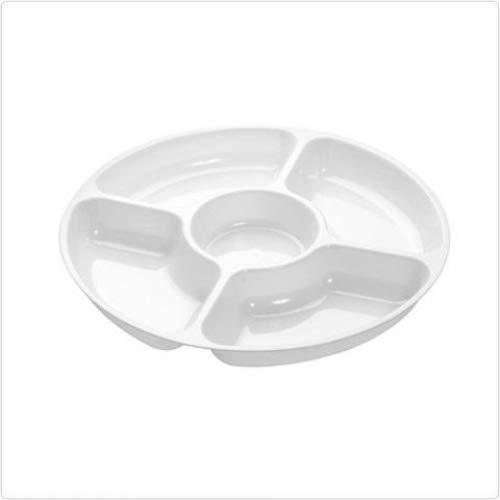 Lot de 3 - Plat de service en plastique rigide divisé en compartiments - Plateau pour amuses-bouches - 5 sections - Blanc - 30 cm