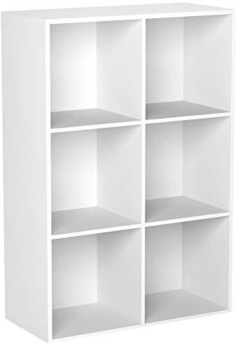 Homfa Bibliothèque Etagère Bibliothèque Livres Rangement Bois pour Salon Design Bureau (Blanc, 8 casiers)