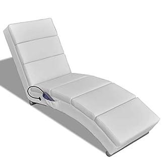 vidaXL Poltrona da massaggio elettrica, Schienale funzionale, Bianco