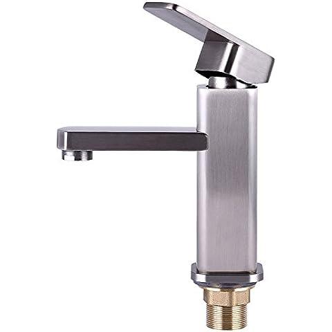 BFDGN Semplice Morden durevole e robusto il rame spazzolato per rubinetti lavandini bagno 304 privo di piombo in acciaio inox singolo pool a caldo e a freddo Rubinetti per lavandini bagno (Dare 1/2 Hot &a freddo dei tubi flessibili acqua )