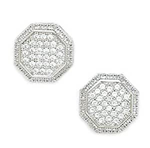 14ct White Gold Cubic Zirconia Large Hexagonal Micropave Earrings - Measures 11x11mm