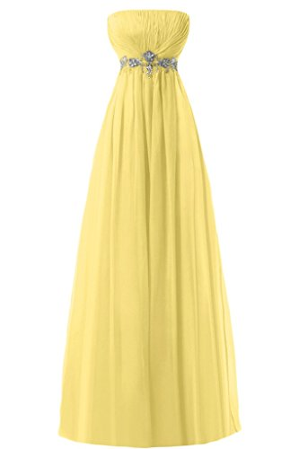 Sunvary Empire senza spalline in Chiffon con perline Sbuffi Evening Dresses Homecoming Gowns Yellow