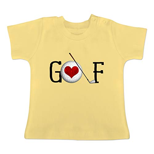 Sport Baby - Golf Herz Schriftzug - 1-3 Monate - Hellgelb - BZ02 - Baby T-Shirt Kurzarm - Oma Golf Shirt