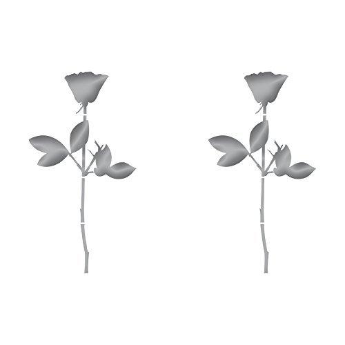 GreenIT Rose 10cm Auto Fenster Spiegel Aufkleber Tattoo die Cut Decals Vinyl Selbstklebende Deko Folie Depeche Mode (2 Stück Silber-metallic)