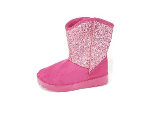 Girls Childrens Kids Flat Winter Faux Fur Warm Glitter Boots Winter Shoes