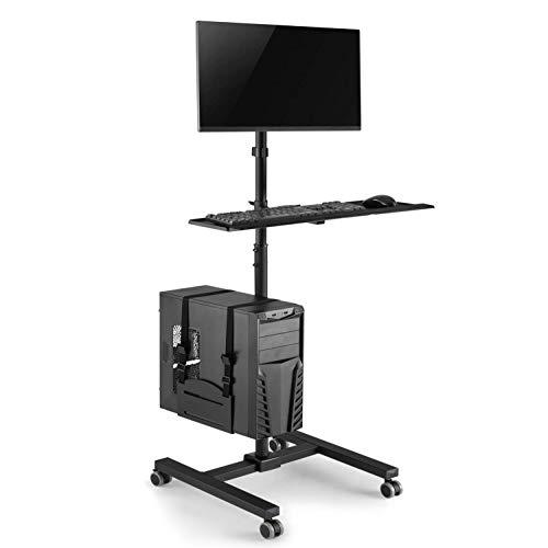 """Maclean MC-793 Standfuß Rollwagen Trolley für Monitor Tastatur Computer Höhenverstellbar 17""""-32"""" bis 20kg VESA 75x75, 100x100"""