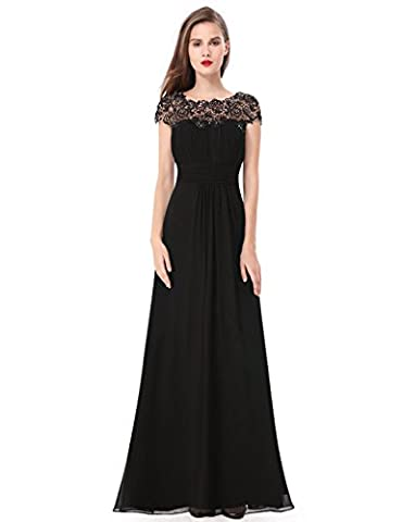 Ever Pretty Black Lacey Neckline Open Back Ruched Bust Evening Dress 18UK Black EP09993BK14