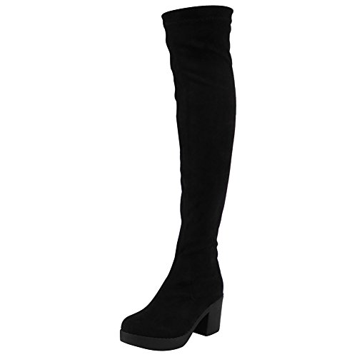 Womens Ladies Thigh High Boots Over The Knee Long Stretch Mid Heel...