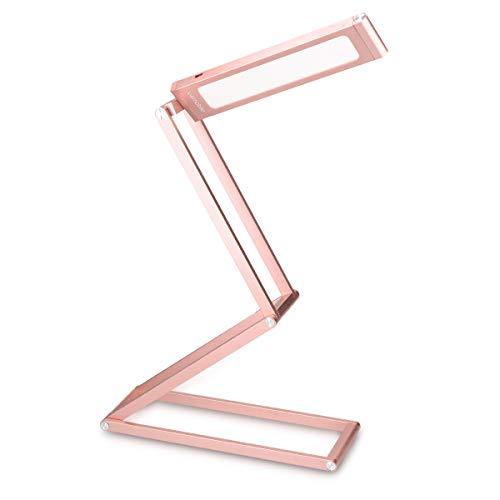 kwmobile Lámparas LED para mesa de noche de aluminio - Lámpara de pie con batería y cable MicroUSB - Flexo de cabeza giratoria en rosa oro