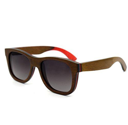 QQBL Männlicher und Weiblicher Allgemeiner Art und Weise Polarizer Hochwertiges Skateboard Holz-Holz Gläser Polaroid UV400 Sichtbares Licht Perspektive 99 (%) Sonnenbrille,Coffee