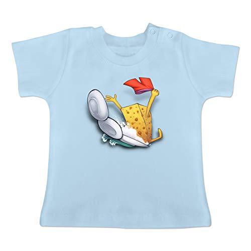 Up to Date Baby - Spülschwamm - Wasserrutsche - 6-12 Monate - Babyblau - BZ02 - Baby T-Shirt Kurzarm