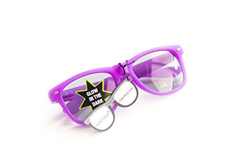 Nerd-Brille leuchtend Violett Lila ohne Sehstärke 15cm Herren Damen Unisex Panto-Brille Wayfarer...
