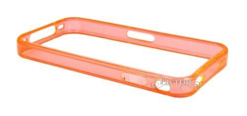 Etuit Coque Housse de Protection Avec Languette en PU Cuir velouté pour Apple iPhone 4 / 4S /4G - Vert Bumper - Orange