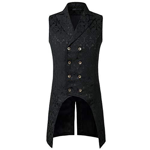 CICIYONER Herren Party Oberbekleidung Print Mantel Frack Jacke Gothic Gehrock Uniform Kostüm S-XXXL (L, Schwarz Ärmellose (Masquerade Kostüm Plus Größe)