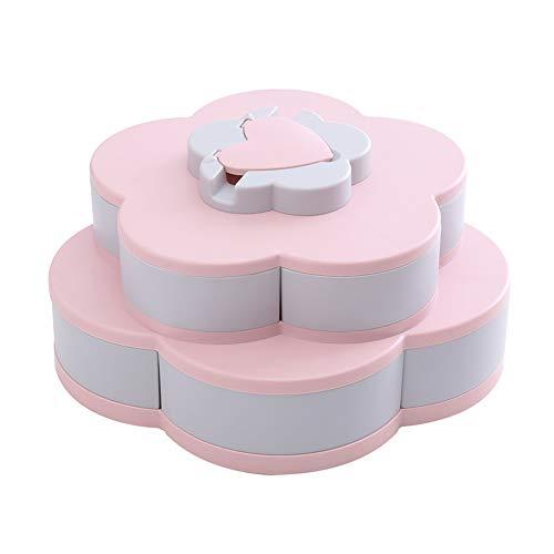 BESTEU Snack Tray Dispenser Mit Telefonhalter Blütenblattform Rotierende Süßigkeiten Trockenfrüchte Nuts Plate Box (Nuts-box)