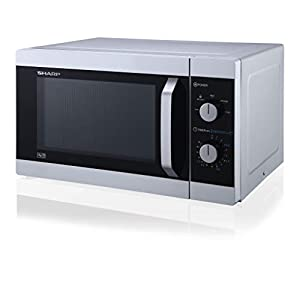 Sharp YC-MS31U-S 900W Solo Microwave Oven with 23 L Capacity, 5 Power Levels & Defrost Function – Silver
