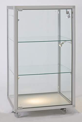 MHN Glasvitrine klein stehend abschließbar halbhoch - mit LED-Beleuchtung - Rollen - ca. 50 cm breit 40 cm tief