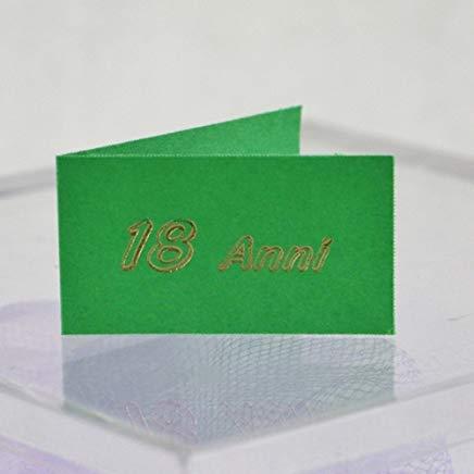 Mentor interactive 20 bigliettini bomboniera verde con scritta18 anni