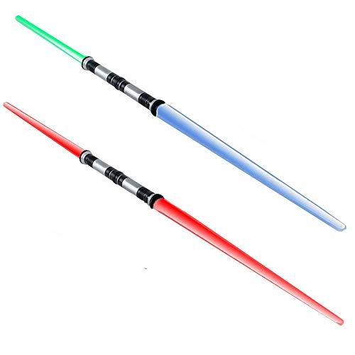 hwert Lichtschwert Sound 4-fach frei wechselbare Lichteffekte blau rot grün Blinklicht ()