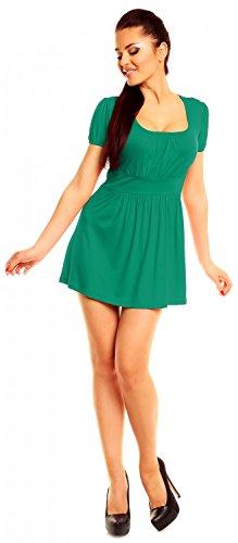 Zeta Ville- Damen Jersey Empire-Taille Shirt Kurzarm Tunika-Top Gr. 38-46 - 408z Teal