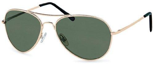 Sonnenbrille Pilotenbrille Damen Herren mit Federbügeln für normale Kopfbreiten Modell 2013 + Brillenbeutel
