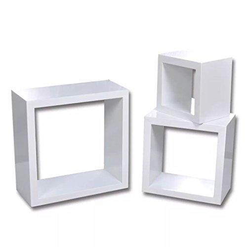 Vidaxl 3x mensola a cubo bianco e accessori scaffale ripiano stand da parete