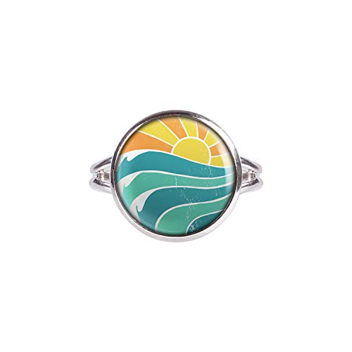 Mylery Ring mit Motiv Sonnen-Untergang Strand Wellen Retro Silber 14mm