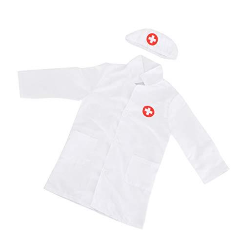 Für Kleinkind Kostüm Krankenschwester - FLAMEER Kinderarzt Arzt/Krankenschwester Kostüm Laborkittel Arztkittel mit Kappe Uniform - Weiß