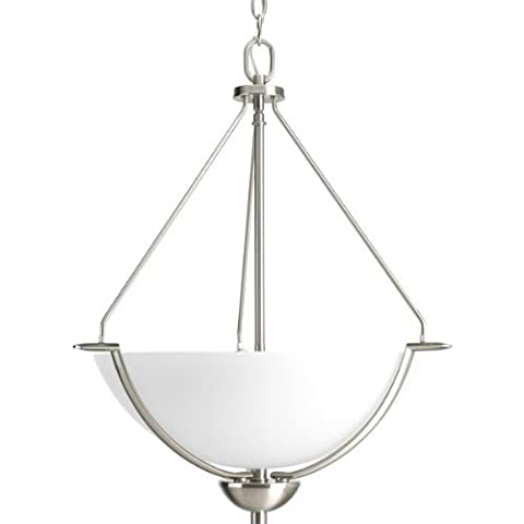 Progress Lighting P3912-09 Bravo Collection 3-Light Foyer Pendant, Brushed Nickel by Progress Lighting