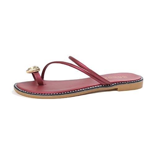Pantoufles jeux de talons strass fond doux confortable sandales plates chaussures de plage occasionnelles red