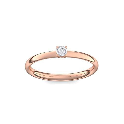 Rotgold Ring Verlobungsringe Rotgold (Silber 925 vergoldet) von AMOONIC mit Zirkonia Stein + LUXUSETUI! Rotgoldring Ring Zirkonia wie Diamant Geschenk Ringe Verlobung AM161VGRTZIFA60