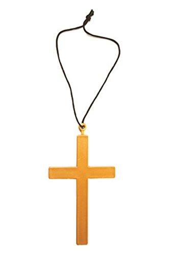 s Kreuz Mönch Pastor Pfarrer Papst Kruzifix Hals-Kette Gold Einheitsgröße Gold ()