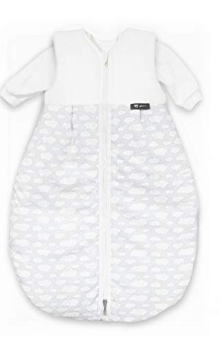Alvi Kombi-Schlafsack   Ganzjahres Baby-Schlafsack 2-teilig   Innensack mit Ärmel & gefütterter Außensack   Temperaturen von 15 bis 30°C, Größe:110, Design:Wolke silber