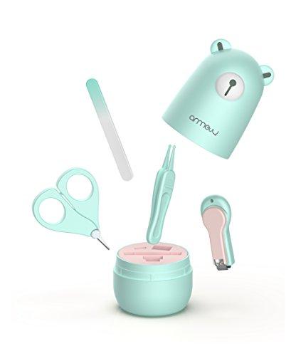 Baby 4in1 Pflege-Set für Fingernägel und Fußnägel mit Nagelknipser, Nagelschere, Nagelfeile und Pinzette für Kinder und Neugeborene in süßer Bären Geschenk-Verpackung -