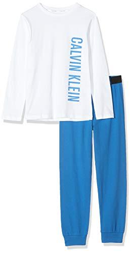 Calvin Klein Jungen Knit PJ Set (LS+Cuffed) Zweiteiliger Schlafanzug, Weiß (1White/1PrincessBlue 0LD), 152 (Herstellergröße:12-14) (2er Pack -