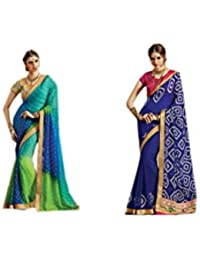 Mantra Fashions Women's Georgette Saree (Mant22_Multi)-Pack of 2