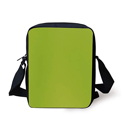 WITHY Lime Green,Empty Backdrop Blurry Off Focus Pastel Toned Shade Color Spring Theme Abstract Decorative,Apple Green Print Kids Crossbody Messenger Bag Purse -