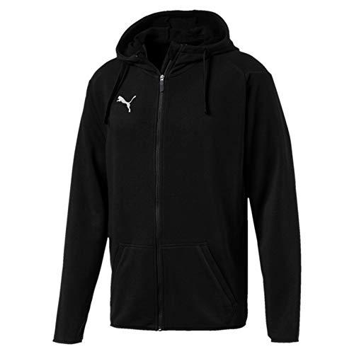 Puma liga casuals hoody, felpa con cappuccio uomo, nero black white, m