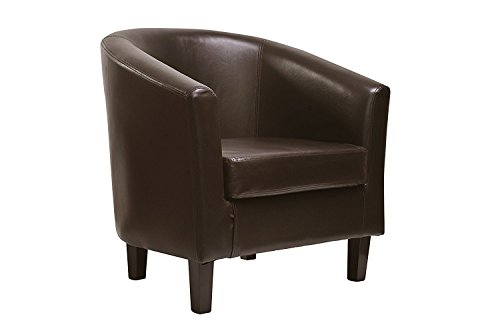 MCC Faux Leather Tub Chair Armchair club Chair for Dining Living Room & Cafe [Black* Brown* Cream* Red*] (Brown)