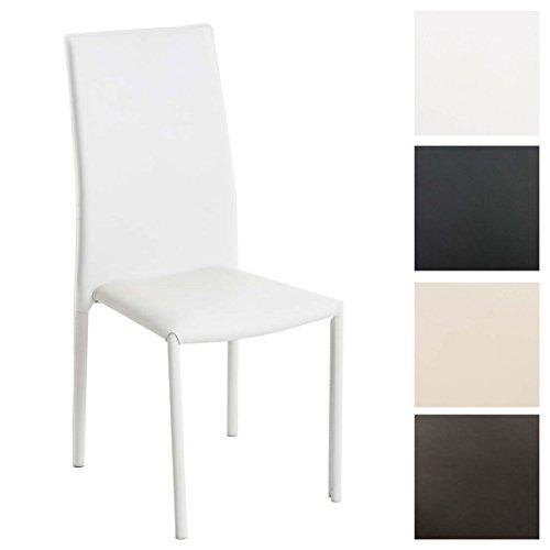 CLP Sedia impilabile LAURUS, adatta come sedia per cucina o anche come sedia per sale d'attesa, fodera facile da pulire, 4 gambe, altezza della seduta 47 cm bianco